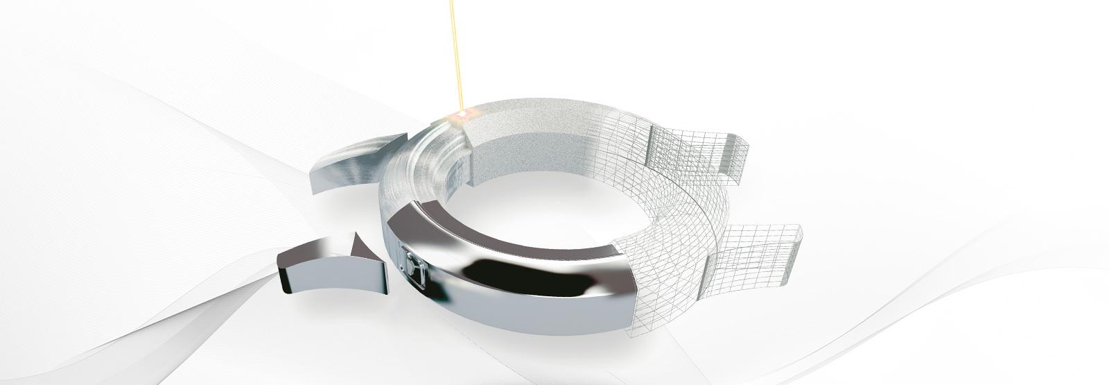 Watch case with laser beam
