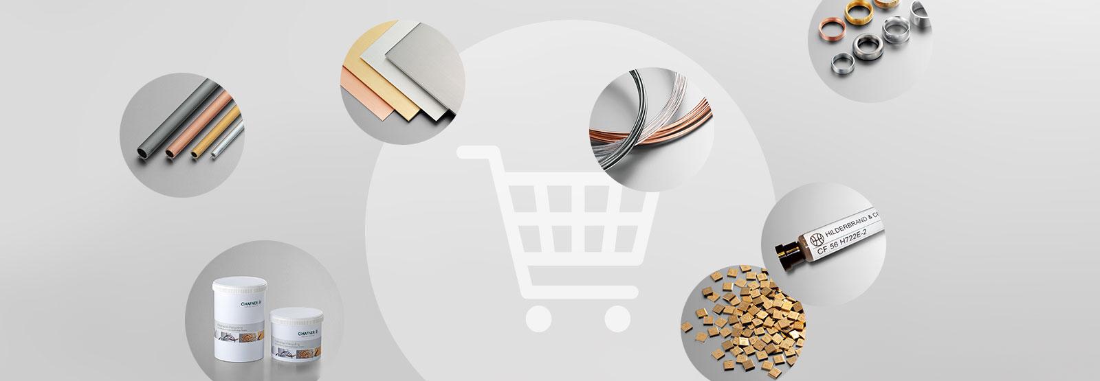 Verschiedenen Materialien vor einem Einkaufswagen