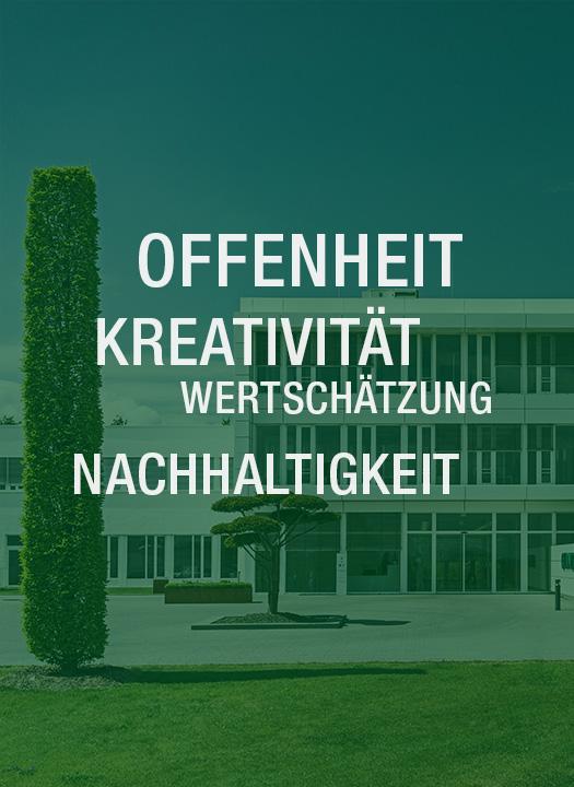 Grünfläche mit dem Firmengebäude im Hintergrund