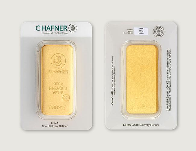 Lingote de oro en blister C. Hafner